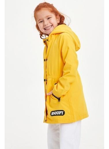 DeFacto Kız Çocuk Snoopy Lisanslı Kapüşonlu Mont Sarı